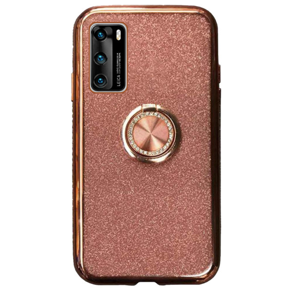 Compatible Glitter Gel Case With Finger Ring Holder For Huawei P40