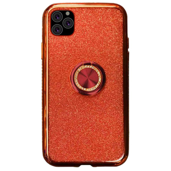 Compatible Glitter Gel Case With Finger Ring Holder For iPhone 11 Pro Max