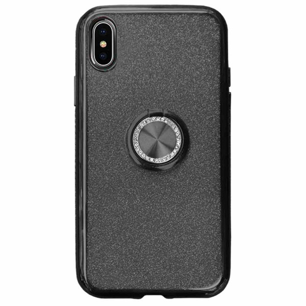 Compatible Glitter Gel Case With Finger Ring Holder For iPhone XS MAX