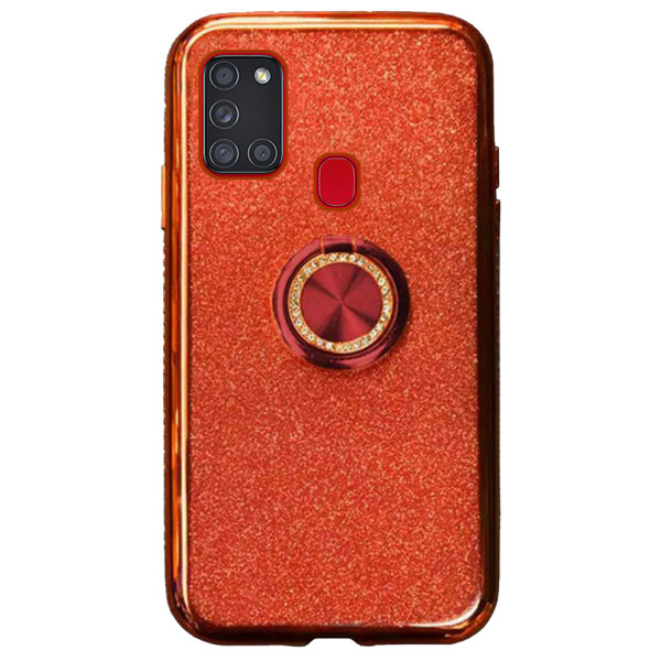 Compatible Glitter Gel Case With Finger Ring Holder For Samsung Galaxy A21S SM-A217
