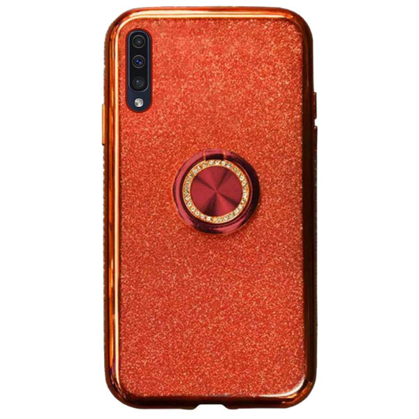 Compatible Glitter Gel Case With Finger Ring Holder For Samsung Galaxy A50 SM-A505