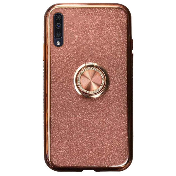 Compatible Glitter Gel Case With Finger Ring Holder For Samsung Galaxy A60 SM-A605