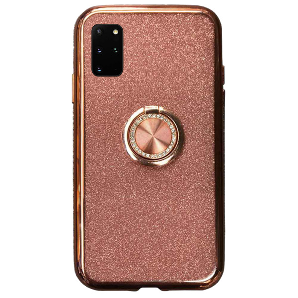 Compatible Glitter Gel Case With Finger Ring Holder For Samsung Galaxy S20 Plus SM-G985