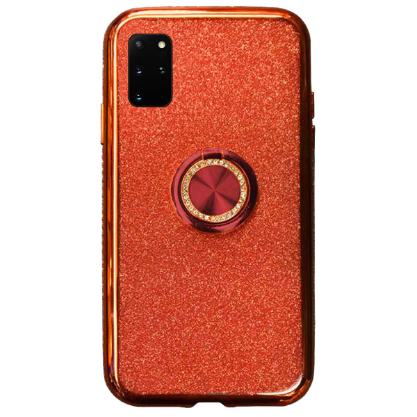 Compatible Glitter Gel Case With Finger Ring Holder For Samsung Galaxy S20 SM-G980