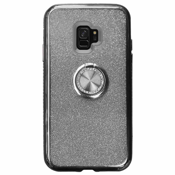Compatible Glitter Gel Case With Finger Ring Holder For Samsung Galaxy S9