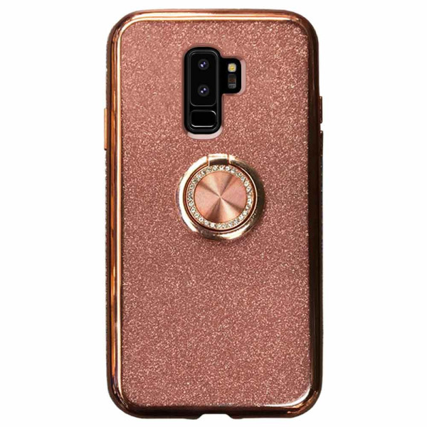 Compatible Glitter Gel Case With Finger Ring Holder For Samsung Galaxy S9 Plus