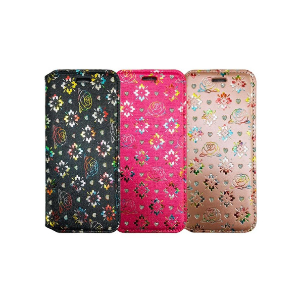 Diamond Book Case With Wallet Slot Compatible For Huawei P Smart